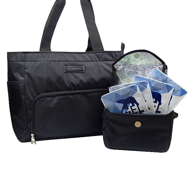 Babymama Large Compartment T Pump Bag With Cooler Pouch Set And 4 Blue Ice Packs
