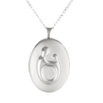 Sterling Silver Mother and Child Locket Necklace