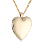 Hand Polished 18k Gold Plated Heart Chain Locket Necklace 24