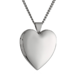 Hand Polished Rhodium Plated Heart Chain Locket Necklace 24