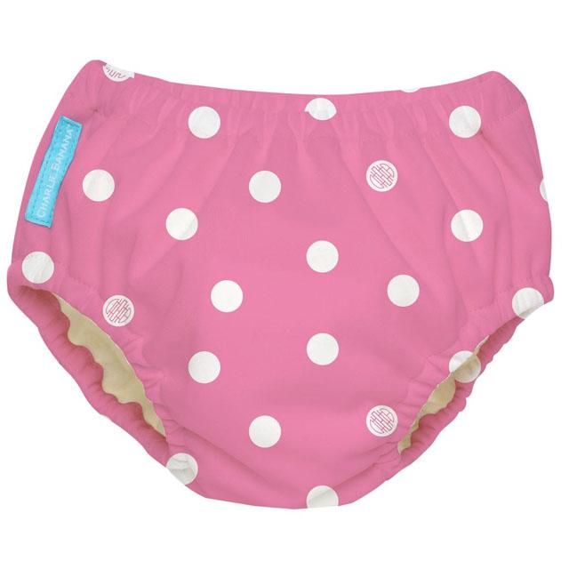 Charlie Banana Swim Diaper Big Polka Dots On Baby Pink