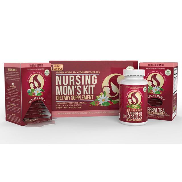 Kiss Me Organics Organic Herbal Tea + Fenugreek Caps Nursing Mom's Kit  Dietary Supplement ( 2boxes of nursing mom's tea 60 bags & 1 bottle  Fenugreek
