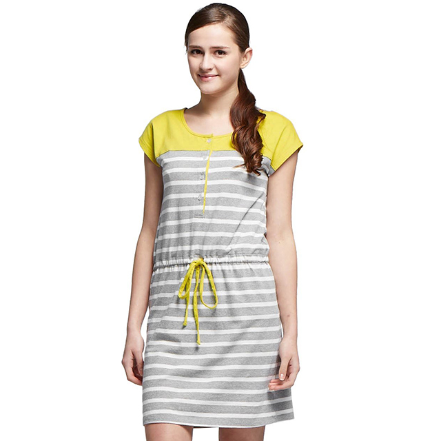 67ce115a8a212 Mamaway Maternity & Nursing Shift Dress With Waist Tie - Mustard - Large -  Babymama